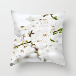 White blooming Throw Pillow