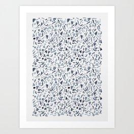 Grey Watercolour Terrazzo Art Print