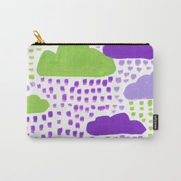 Hand Painted Purple Lilac and Green Rain Clouds Carry-All Pouch