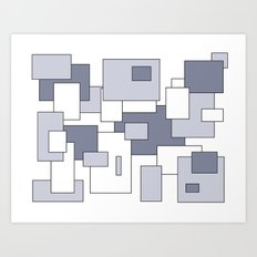 Squares - white and gray. Art Print