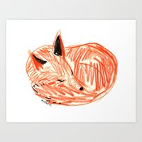 rubyetc Art Prints featuring fox by rubyetc