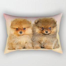 Cute Pomeranian Puppies Rectangular Pillow
