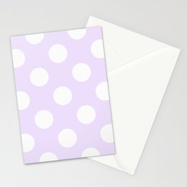 Geometric Orbital Circles In Pale Delicate Summer Fresh Lilac with White Dots Stationery Cards