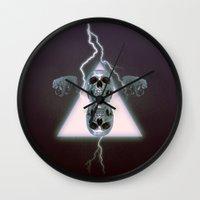 metallic Wall Clocks featuring Metallic by Elva Salinas