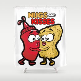 NUGS AND KISSES Romantic Fastfood Love Present Shower Curtain