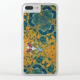 Orange and Green Flora Clear iPhone Case