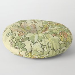 """Alphonse Mucha """"Printed textile design with hollyhocks in foreground"""" Floor Pillow"""