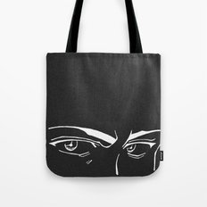 Doubt eyes bw Tote Bag