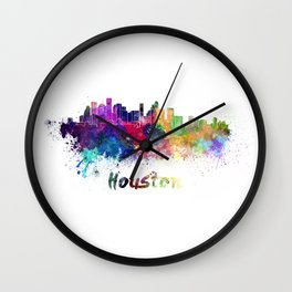 Houston skyline in watercolor Wall Clock