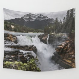 Athabasca Falls Mountain View Wall Tapestry