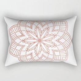 Mandala Posy Flower Rose Gold on White Rectangular Pillow