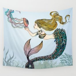 Jellyfish and Mermaid Wall Tapestry
