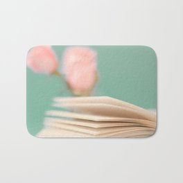 Book Pages on Blue background (Retro Still Life Photography)  Bath Mat