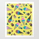 Cruncher - memphis throwback ice cream cone desert 1980s 80s style retro geometric neon pop art by wacka