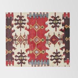 Burdur  Antique South West Anatolia Turkish Kilim Print Throw Blanket
