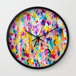 Bright Colorful Abstract Painting in Neons and Pastels Wall Clock
