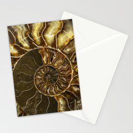 Earth treasures - Brown and yellow ammonite Stationery Cards
