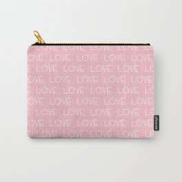 Love typography font valentines day gift cell phone case love heart pink pastel girly trendy minimal Carry-All Pouch