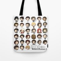 robert downey jr Tote Bags featuring Robert Downey Jr. by Lady Cibia