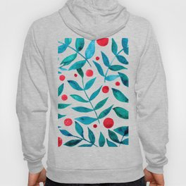 Watercolor berries and branches - turquoise and red Hoody