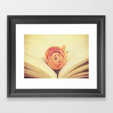 {Old Book and Ranunculus} Framed Art Print