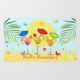 Hello Summer, vector illustration with text Rug