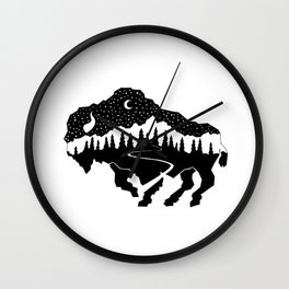 Grand Teton Bison Wall Clock