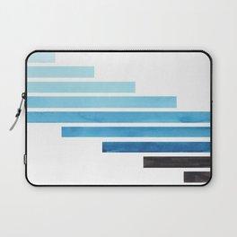 Cerulean Blue Midcentury Modern Minimalist Staggered Stripes Rectangle Geometric Aztec Pattern Water Laptop Sleeve