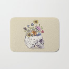 Half Skull Flowers Bath Mat