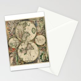 1689 Map of the World by Gerard van Schagen Stationery Cards