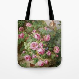 Rose still life with butterflies and bird, Josef Lauer, 1870 Tote Bag