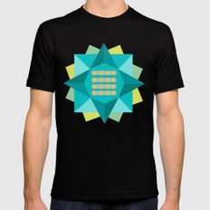 Abstract Lotus Flower - Yoga Print Mens Fitted Tee Black MEDIUM