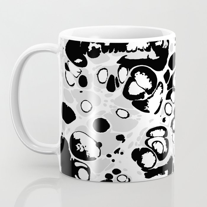 Black white gray ink paint spilled mess splashes platter effect Coffee Mug