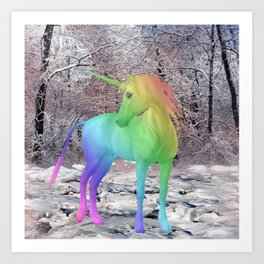 Rainbow Winter Unicorn Art Print