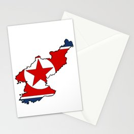 North Korea Map with North Korean Flag Stationery Cards