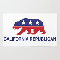 political Area & Throw Rugs featuring California Political Republican Bear  by Republican