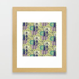 Retro Atomic Mid Century Pattern Blue Green Purple and Turquoise Framed Art Print