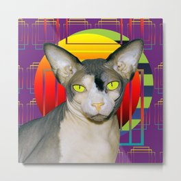 Vamp Sphynx Cat (purple) Metal Print