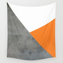 Concrete Tangerine White Wall Tapestry