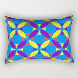 Geometric Floral Circles Vibrant Color Challenge In Bold Red Yellow Purple & Blue Rectangular Pillow