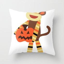Sock Monkey Halloween Throw Pillow