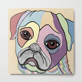PUG in DENIM Tones Metal Print