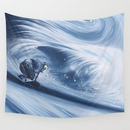 'Snowboarding Blue Blower' Wall Tapestry