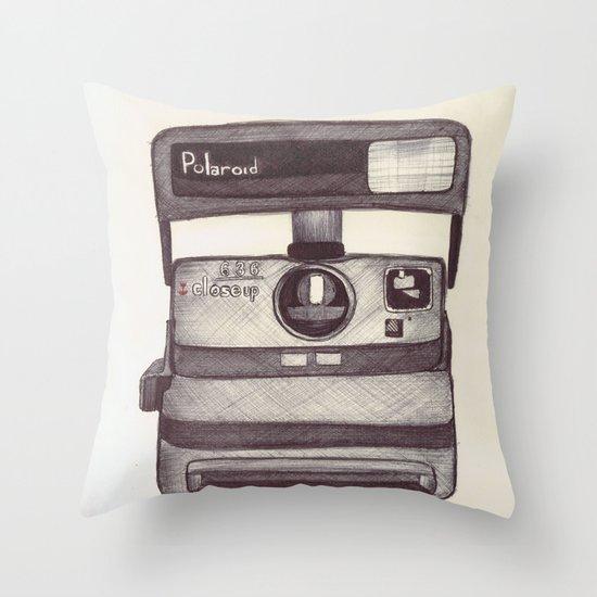 Ballpoint Palaroid Camera Throw Pillow