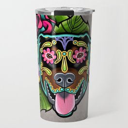 Doberman with Floppy Ears - Day of the Dead Sugar Skull Dog Travel Mug