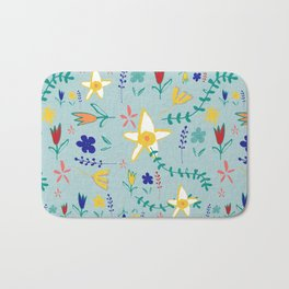 Floral The Tortoise and the Hare is one of Aesop Fables green Bath Mat