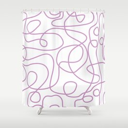 Doodle Line Art | Lavender Purple Lines on White Background Shower Curtain
