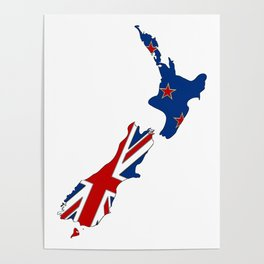 New Zealand Map with Kiwi Flag Poster