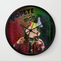 popeye Wall Clocks featuring POPEYE THE SAILOR MON - 018 by Lazy Bones Studios