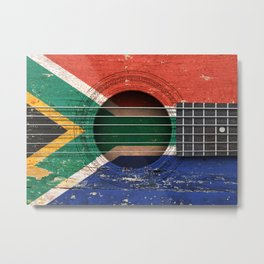Old Vintage Acoustic Guitar with South African Flag Metal Print